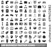 100 business partner icons set... | Shutterstock .eps vector #699652882