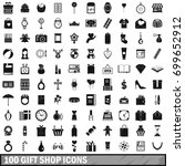 100 gift shop icons set in... | Shutterstock .eps vector #699652912