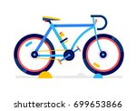city blue sport bicycle.... | Shutterstock .eps vector #699653866