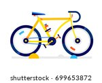 city yellow sport bicycle.... | Shutterstock .eps vector #699653872