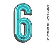 3d neon number six | Shutterstock . vector #699686806