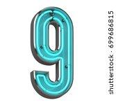 3d neon number nine | Shutterstock . vector #699686815