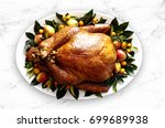 gourmet baked turkey  plated... | Shutterstock . vector #699689938