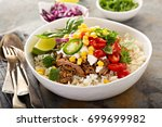 mexican dinner bowl with rice... | Shutterstock . vector #699699982