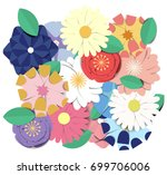 colorful blooming flowers... | Shutterstock .eps vector #699706006