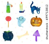 set with traditional haloween... | Shutterstock .eps vector #699713812
