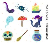 set with traditional halloween... | Shutterstock .eps vector #699714142