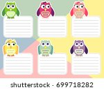 school timetable with owls.... | Shutterstock .eps vector #699718282