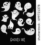 cute and spooky ghosts set.... | Shutterstock .eps vector #699721378