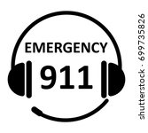emergency call icon with 911.... | Shutterstock .eps vector #699735826