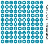 100 eco icons set in sapphirine ... | Shutterstock .eps vector #699744892
