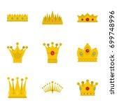 Crown Icon Set. Flat Set Of 9...