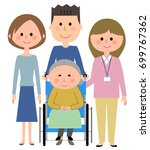 elderly woman and families... | Shutterstock .eps vector #699767362