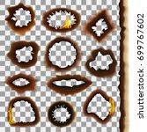 burned paper on a transparent... | Shutterstock .eps vector #699767602