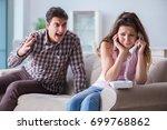 young family in broken... | Shutterstock . vector #699768862