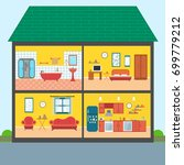 set of vector interiors with... | Shutterstock .eps vector #699779212