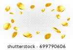explosion of gold coins with... | Shutterstock .eps vector #699790606