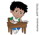 kid boring about someting.back... | Shutterstock .eps vector #699793702