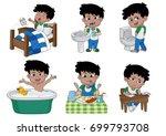 set of daily cute boy boy wake...   Shutterstock .eps vector #699793708