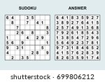 vector sudoku with answer 103.... | Shutterstock .eps vector #699806212