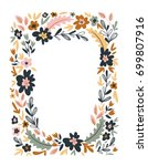 Stock vector floral frame isolated on the white background cute flat floral wreath perfect for wedding 699807916