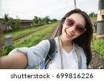 travel vacation tourist selfie. ...   Shutterstock . vector #699816226