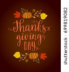 happy thanksgiving day. autumn... | Shutterstock .eps vector #699819082