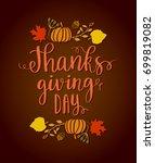 happy thanksgiving day. autumn... | Shutterstock .eps vector #699819082