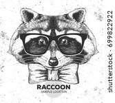 Hipster Animal Raccoon. Hand...