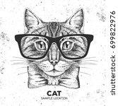 hipster animal cat. hand... | Shutterstock .eps vector #699822976