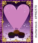 Vector Illustration. A template background Purple Chocolate Card or invitation. May add photo and/or text. - stock vector