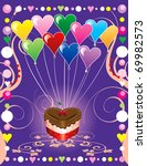 Raster version of love or valentine background illustration. - stock photo