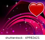 Raster version Abstract Heart with reddish rainbow colored background. Valentine's Day Background. - stock photo