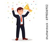 business man hold gold trophy... | Shutterstock .eps vector #699836902