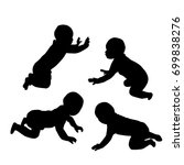 set of silhouettes of baby ... | Shutterstock .eps vector #699838276