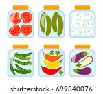 glass jars with home... | Shutterstock .eps vector #699840076