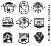set of hiking badges isolated... | Shutterstock .eps vector #699843916