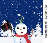 magic snow man announcing spring | Shutterstock . vector #69984823