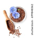flax seed and flax flowers... | Shutterstock . vector #699848362