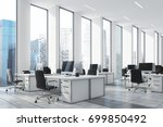 white open office with narrow... | Shutterstock . vector #699850492