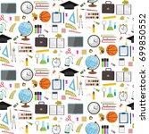 seamless school pattern on a... | Shutterstock . vector #699850552