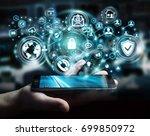 businessman on blurred... | Shutterstock . vector #699850972