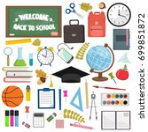 school and education workplace... | Shutterstock . vector #699851872