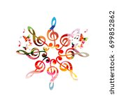 music poster with g clef... | Shutterstock .eps vector #699852862
