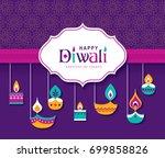 diwali hindu festival greeting... | Shutterstock .eps vector #699858826