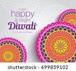 diwali festival greeting card... | Shutterstock .eps vector #699859102
