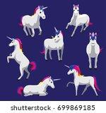 cute unicorn cartoon poses... | Shutterstock .eps vector #699869185