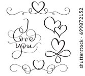 Stock vector i love you text with hearts on white background hand drawn calligraphy lettering vector 699872152