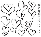 set of calligraphy love heart... | Shutterstock .eps vector #699872452