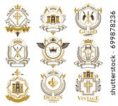 vintage heraldry design... | Shutterstock .eps vector #699878236